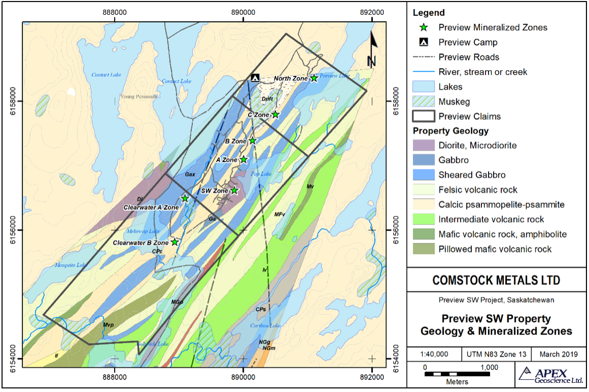 Map 2. Preview SW Property Map Showing Drilled Gold Zones